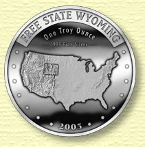 Free State Wyoming silver coin - Obverse